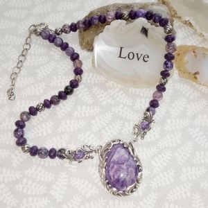 Carolyn Pollack Sterling & Purple Agate Necklace
